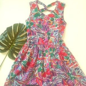 Nouveau Faces • Vintage floral tea length dress S